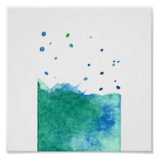 ABSTRACT BLUE GREEN TURQUOISE WATERCOLOR SPLATTER POSTER