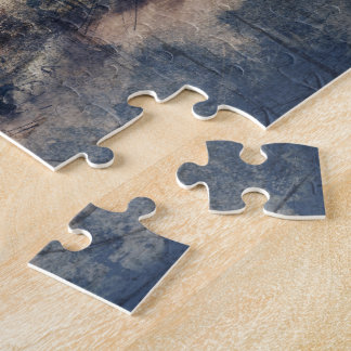 Abstract Blue Grunge Soccer Jigsaw Puzzle