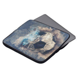 Abstract Blue Grunge Soccer Laptop Sleeve