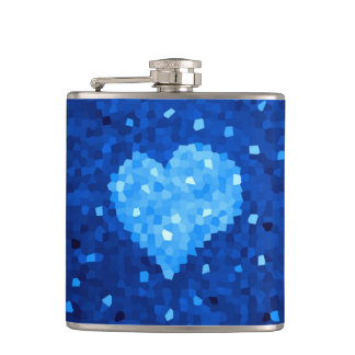 Abstract Blue Heart Made Of Crystals Flask