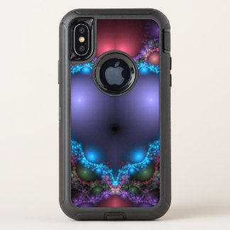 Abstract Blue Heat With Neon Fringe OtterBox Defender iPhone X Case