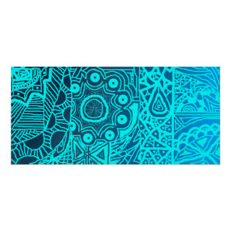 Abstract Blue Henna Style Posters