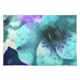 Abstract Blue Hibiscus Flower Place Mat