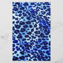 Abstract Blue Hipster Cheetah Animal Print