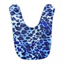 Abstract Blue Hipster Cheetah Animal Print Baby Bib