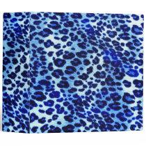 Abstract Blue Hipster Cheetah Animal Print Binder
