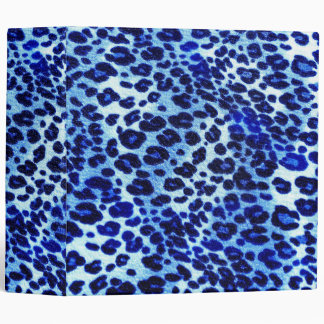 Abstract Blue Hipster Cheetah Animal Print Binder