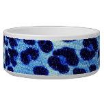 Abstract Blue Hipster Cheetah Animal Print Dog Food Bowl