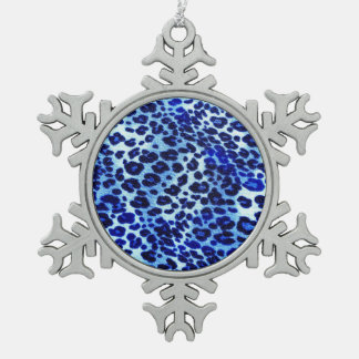 Abstract Blue Hipster Cheetah Animal Print Snowflake Pewter Christmas Ornament