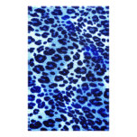 Abstract Blue Hipster Cheetah Animal Print Stationery