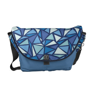 Abstract Blue Ice Crsytal Pattern Messenger Bags