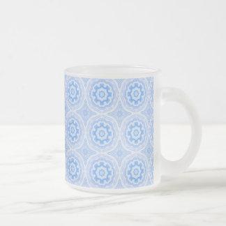 Abstract Blue Kaleidoscope Pattern Frosted Glass Coffee Mug