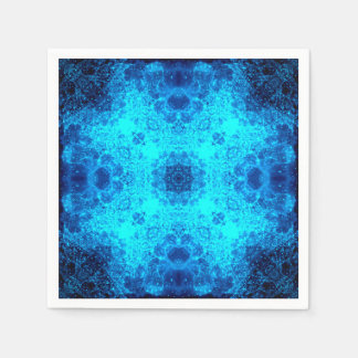 Abstract Blue Lacy Waves Napkin