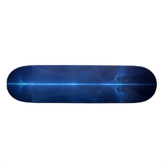 Abstract Blue Light Wave Skateboard Deck