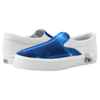 Abstract Blue Light Wave Slip-On Sneakers