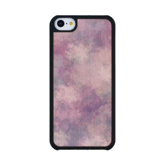 Abstract Blue, Lilac, Pink Acrylic Look Carved® Maple iPhone 5C Case