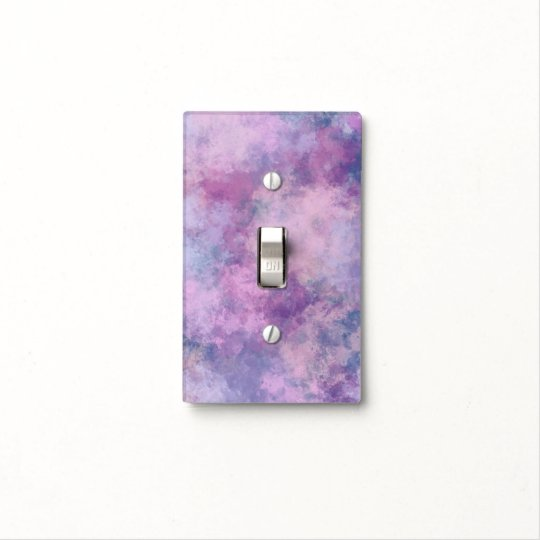 Abstract Blue Lilac Pink Acrylic Painting Effect Light Switch Cover