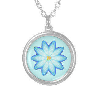 Abstract Blue Lotus Flower Painting Necklaces