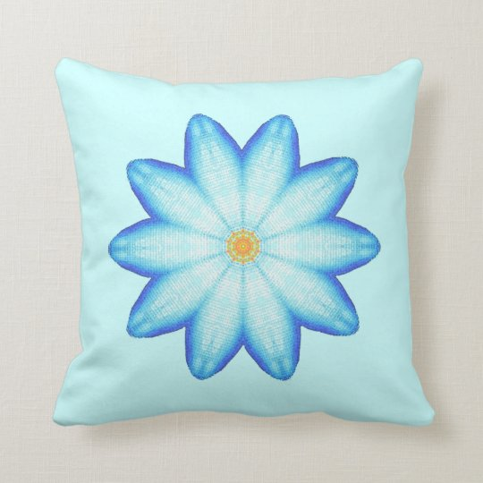Abstract Blue Lotus Flower Painting Pillows Zazzlecom