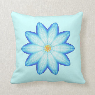 Abstract Blue Lotus Flower Painting Pillows