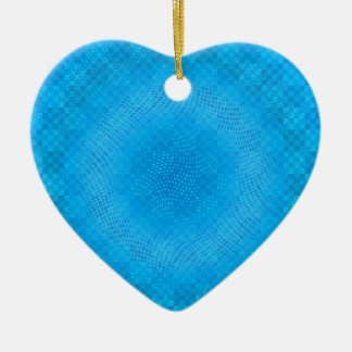abstract blue mesh checkered ceramic ornament