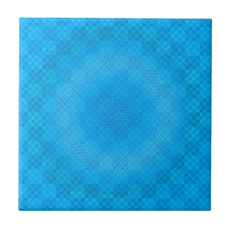 abstract blue mesh checkered ceramic tile