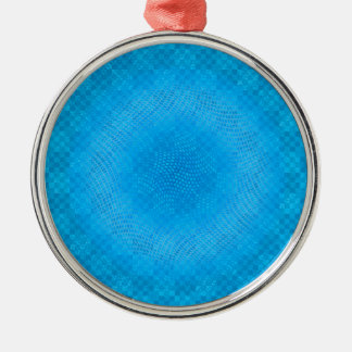abstract blue mesh checkered metal ornament