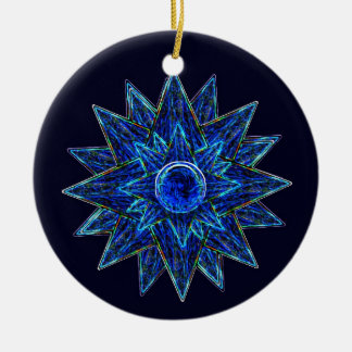 Abstract Blue Moon & Stars Ornament