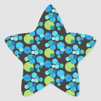 Abstract Blue Moons Pattern on Black Star Sticker