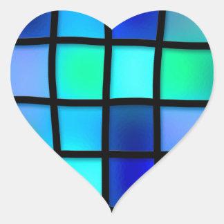 Abstract Blue Mosaic Tile Heart Sticker