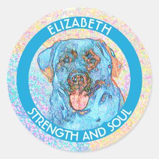 Abstract Blue Orange Labrador Retriever Classic Round Sticker