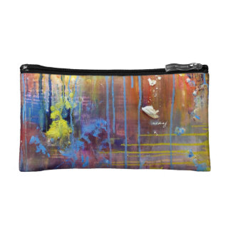 Abstract Blue Painting Bag Cosmetic Bags