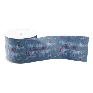 Abstract Blue Painting Grosgrain Ribbon