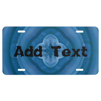 Abstract blue pattern with wood flower license plate