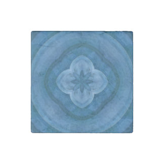 Abstract blue pattern with wood flower stone magnet