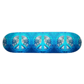 Abstract Blue Peace Sign Skateboard Deck