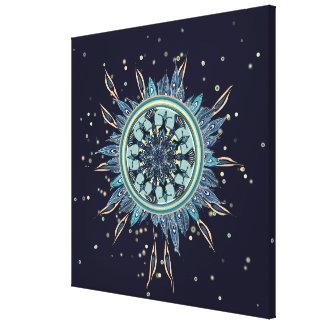 Abstract Blue Peacock Mandala Canvas