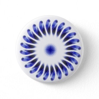 Abstract Blue Petals Kaleidoscope Art 1 button