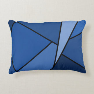 Abstract Blue Polygons Accent Pillow