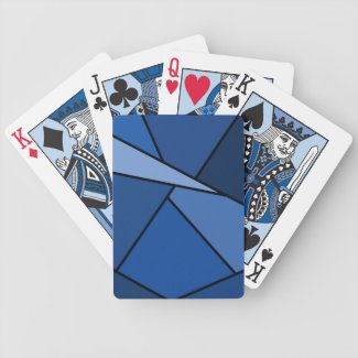 Abstract Blue Polygons Bicycle Playing Cards