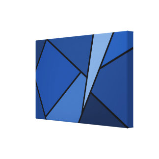 Abstract Blue Polygons Stretched Canvas Print