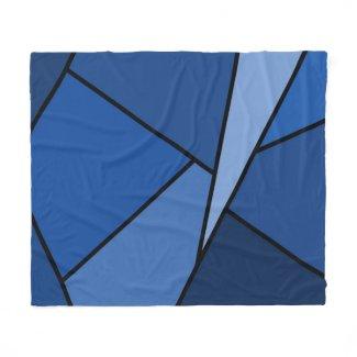 Abstract Blue Polygons Fleece Blanket