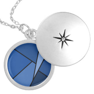 Abstract Blue Polygons Locket Necklace