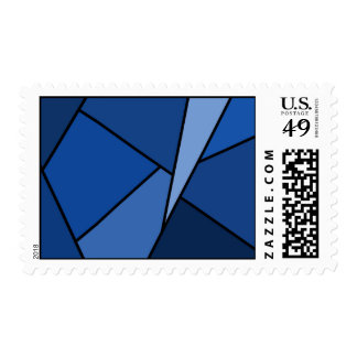Abstract Blue Polygons – Medium Postage Stamp