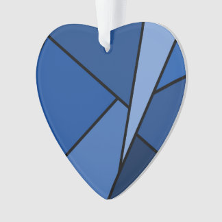 Abstract Blue Polygons Ornament