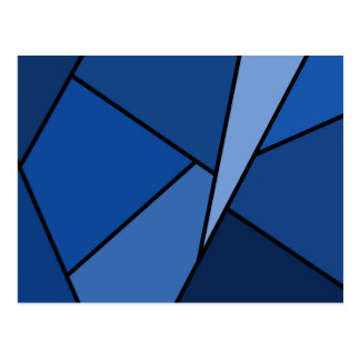 Abstract Blue Polygons Postcard