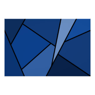 Abstract Blue Polygons Posters