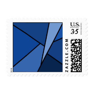 Abstract Blue Polygons – Small Postage