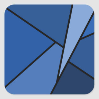 Abstract Blue Polygons Square Sticker