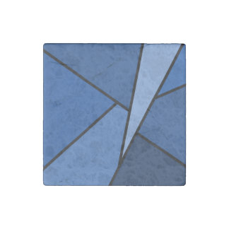 Abstract Blue Polygons Stone Magnet